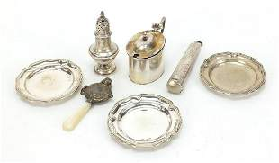 Victorian and later silver objects including a cheroot