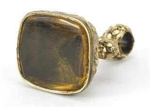 Large antique gold coloured metal citrine fob, 3.5cm