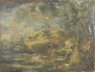 Abstract composition, landscape, Welsh school oil on