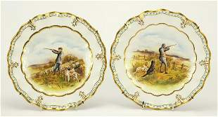 Pair of Royal Crown Derby Lombardy cabinet plates, each