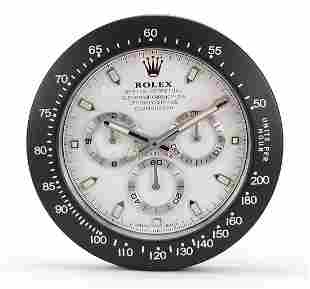 Rolex Daytona design dealer's display wall clock, 34cm