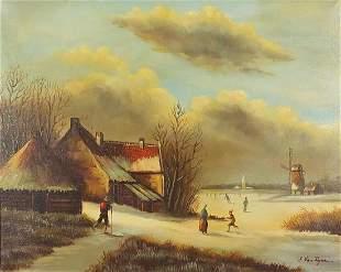Winter landscape with windmill, Dutch school oil on