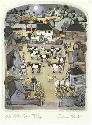 Graham Clarke - Year of the Cow, pencil signed etching
