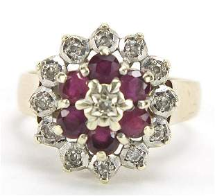 9ct gold ruby and diamond three tier cluster ring, size
