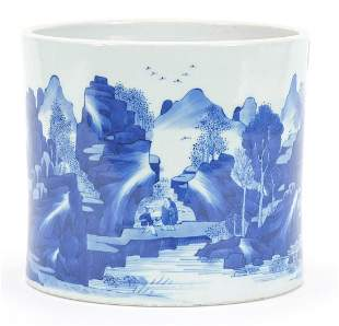 Chinese blue and white porcelain brush pot hand painted