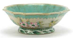 Chinese porcelain footed bowl hand painted in the