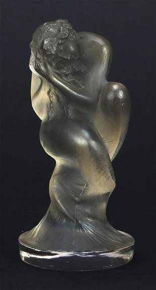 Rene Lalique, French Sirene frosted glass car mascot,
