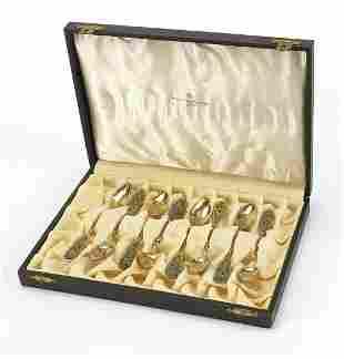 Johan G Kjaerland, set of eight Norwegian silver gilt