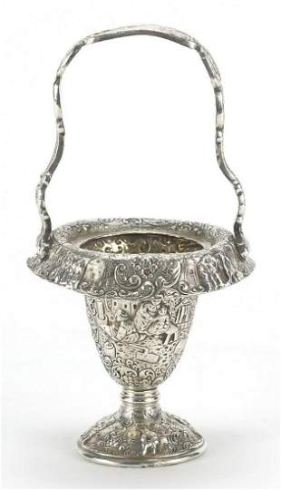 Dutch silver coloured metal basket embossed with
