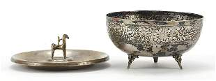 830 silver dish mounted with a figure on horseback and