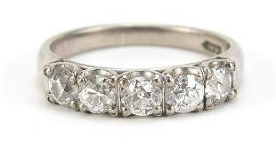 14ct white gold diamond five stone ring, the central