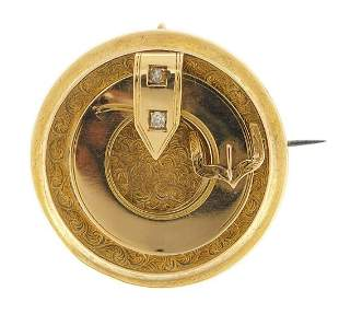 Victorian aesthetic unmarked gold mourning brooch