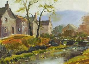 Attributed to Robert Brindley - Linton in autumn, oil,