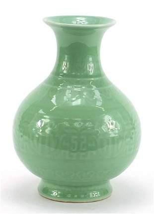 Chinese porcelain celadon glazed vase decorated under