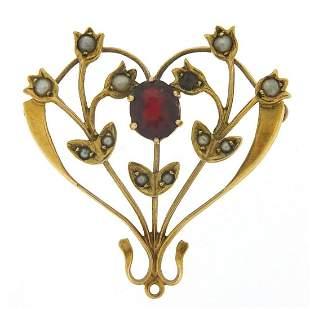 Art Nouveau 9ct gold garnet and seed pearl pendant, 3cm