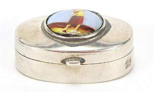 Oval sterling silver pill box, the hinged lid enamelled