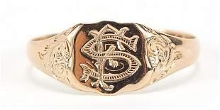 Edwardian 9ct rose gold signet ring, hallmarked