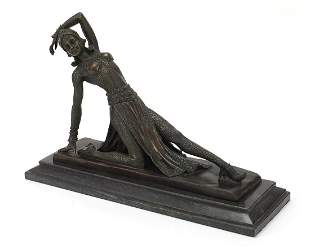 After Demetre Chiparus, patinated bronze sculpture of a