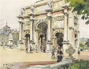 Henri Bouvrie - La Carousel, watercolour, details