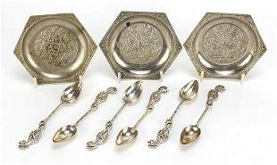Set of six silver coloured metal seahorse design