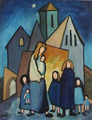 Mother and children before a church, Irish school oil