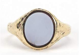 Antique unmarked gold hardstone signet ring with