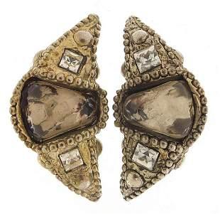 Alexis Lahellec, pair of vintage silver coloured metal