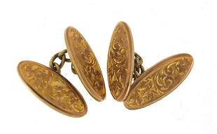 Pair of 9ct gold cufflinks with engraved decoration