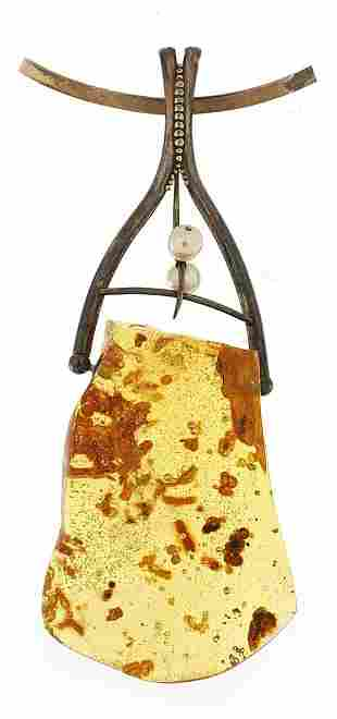 Barcala, large natural amber and silver necklace, the