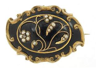 Antique unmarked gold and black enamel mourning brooch