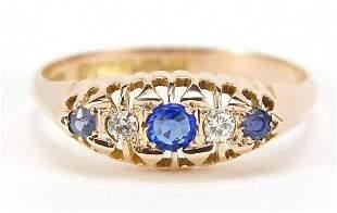 Edwardian 9ct gold diamond, sapphire and blue stone