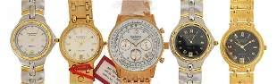 Five gentlemen's & Krug-Baumen diamond wristwatches