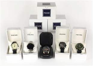 Five gentlemen's Pulsar wristwatches with boxes and