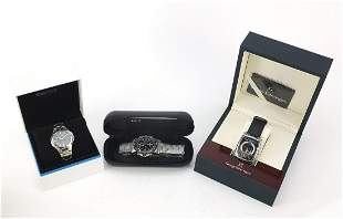Three gentlemen's wristwatches with boxes and paperwork