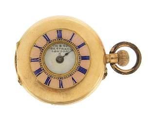 S Smith & Son Ltd, ladies 14ct gold and enamel half