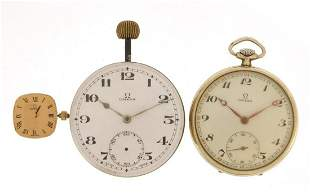 Vintage watches and movements comprising Omega open
