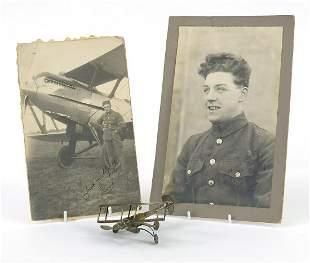 British military World War I trench art plane and two