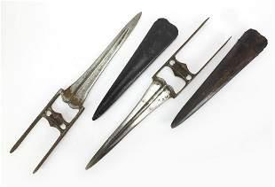 Near pair of Persian Katar stabbing daggers with
