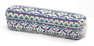 Turkish Kutahya pottery pen box hand painted with