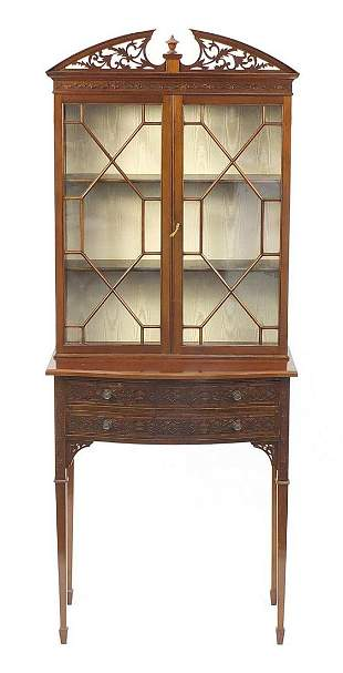 Chinese Chippendale design mahogany display cabinet on