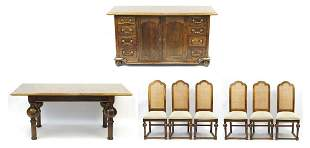 Parquetry Inlaid hardwood dining suite comprising a