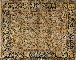 Rectangular Persian part silk rug decorated with swans