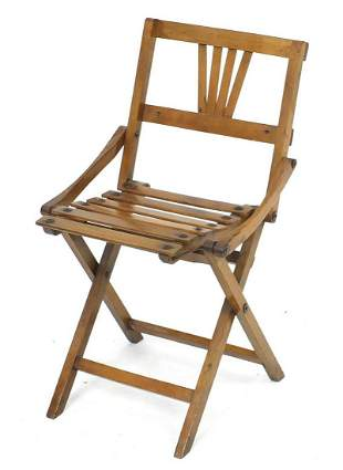 Campaign style hardwood folding child's chair, 55cm