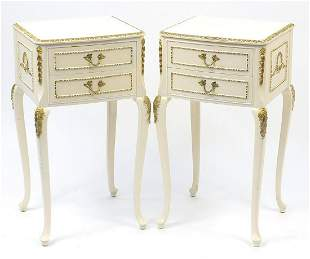 Pair of French style cream and gilt two drawer night