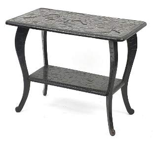 Chinese hardwood table with under tier carved with a