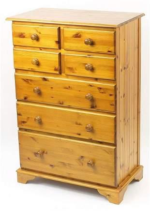 Pine seven drawer chest, 135cm H x 91cm W x 50cm D