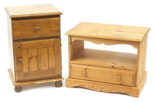 Pine bedside cupboard and multi media stand with drawer