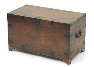 Antique pine chest with iron mounts and carrying