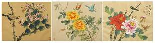 Birds and butterflies amongst flowers, three Chinese