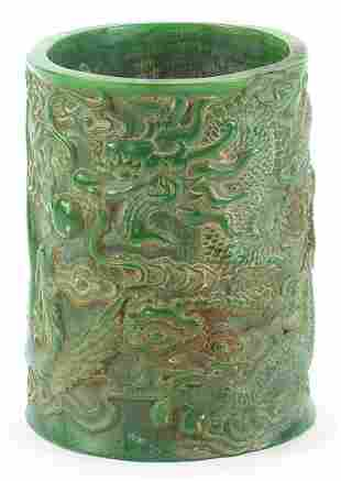 Chinese green jade brush pot carved with a dragon and